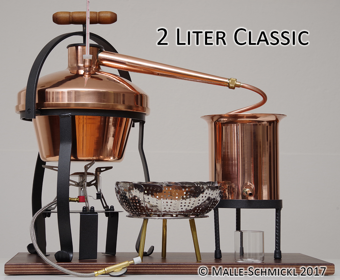Still CLASSIC, 2 Liters, complete with steam thermometer, gas burner and  large aroma kettle